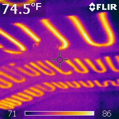 Barrel ceiling with radiant heating, thermal image