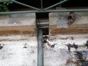 Typical poorly installed roof drainage scupper