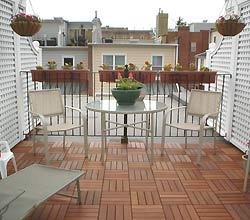rooftop deck with Ipe wood tiles