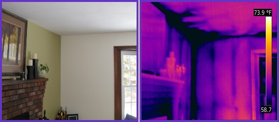 Thermal image of water and cold air intrusion caused by ice damming at the roof eave.
