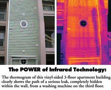 Leaking washing machine leaking in wall, thermal image